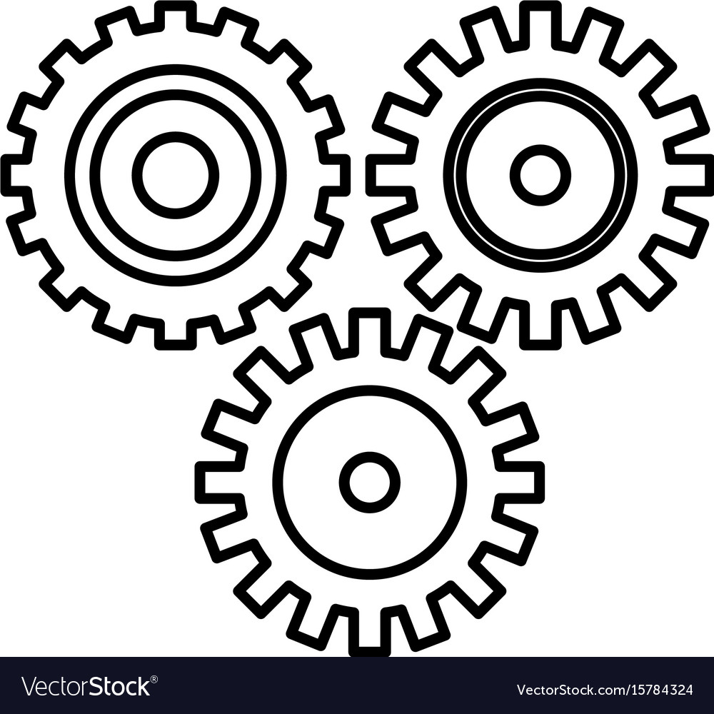 Line industry gears to process engineering vector image