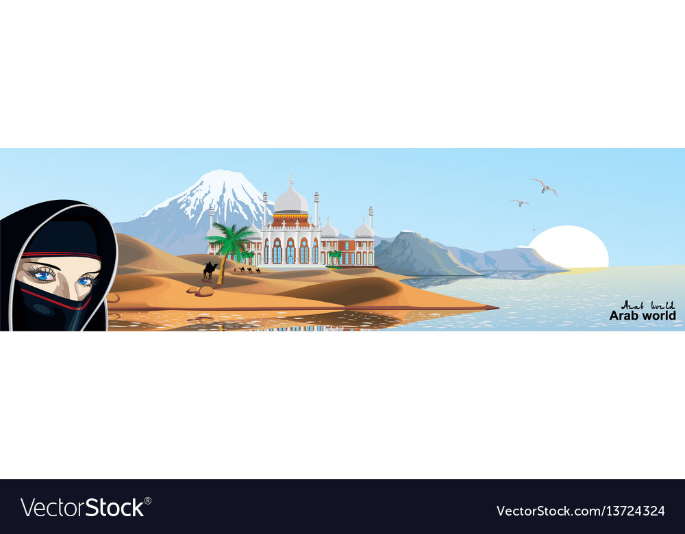 Panorama - east palace on the coast vector image
