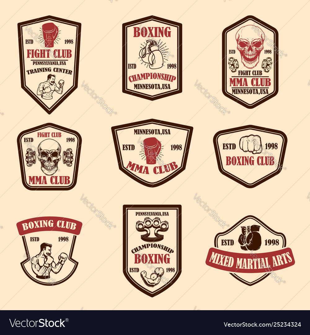 Set mma and boxing club emblems design element