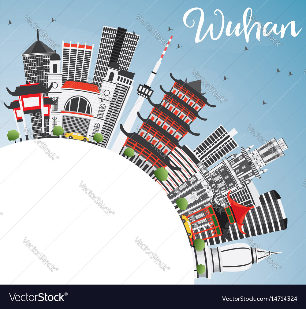 Wuhan skyline with gray buildings blue sky and