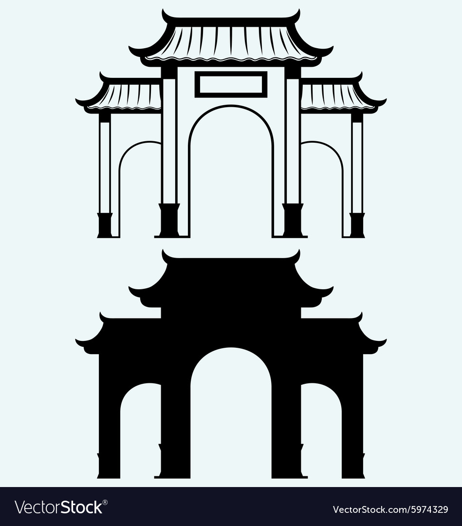 Ancient Chinese gate vector image