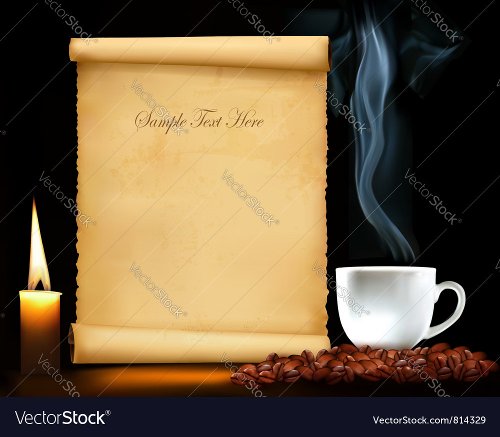 Background with old paper and cup of coffee