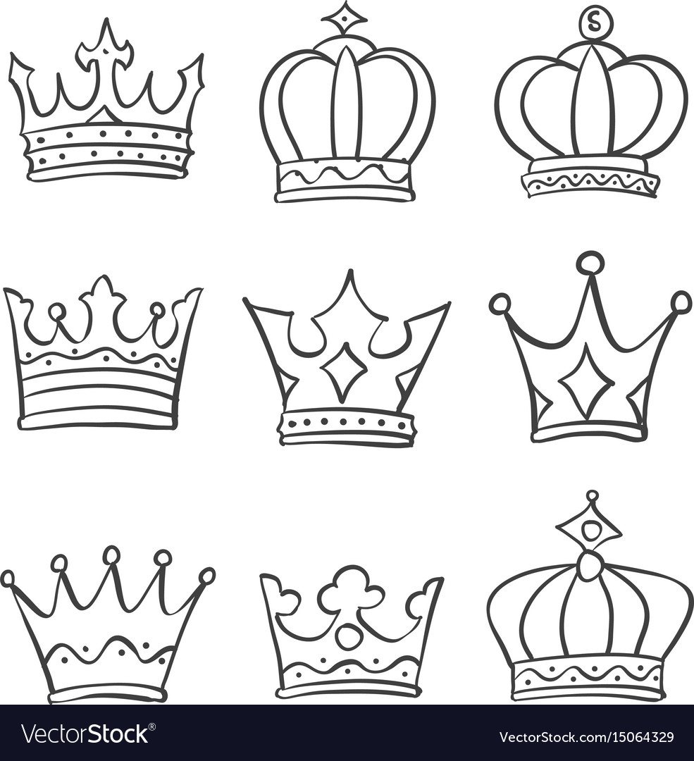 Crown King And Queen Style Doodle Royalty Free Vector Image