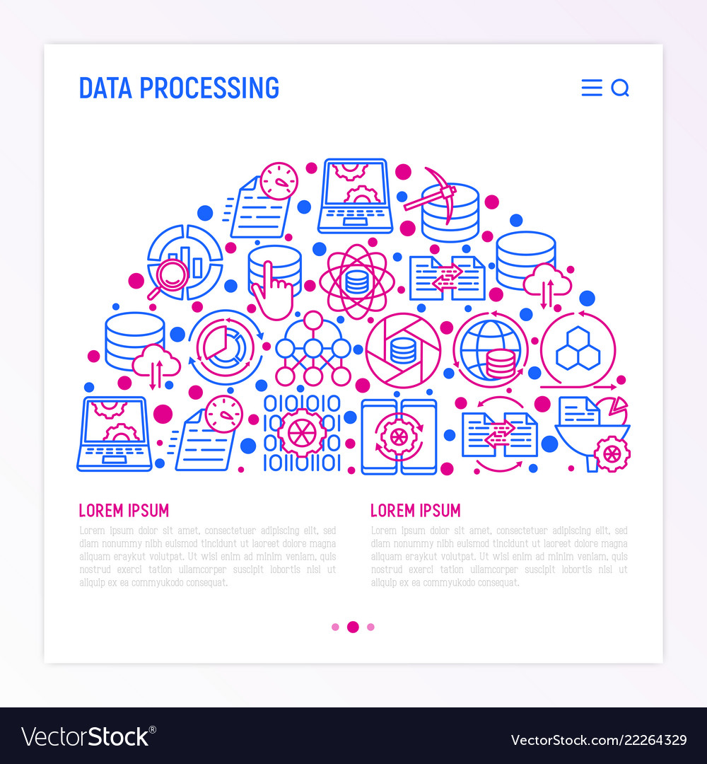 Data processing concept in half circle