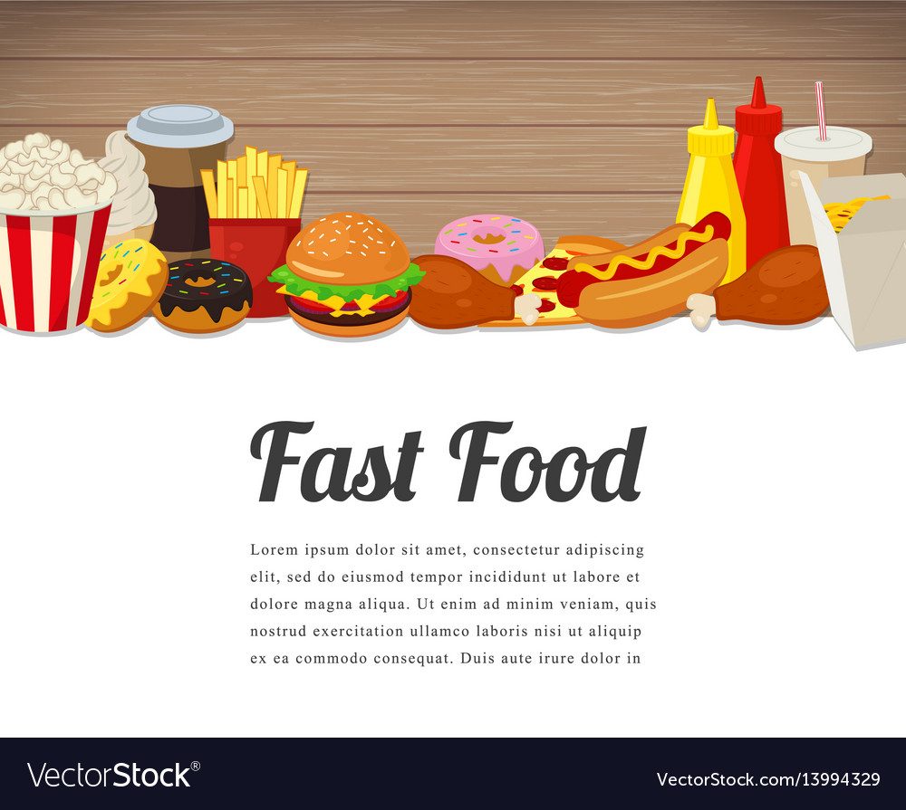 Fast food card design food background with