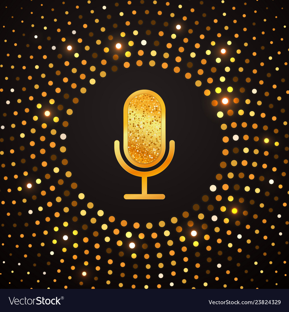 Golden microphone icon on abstract gold halftone