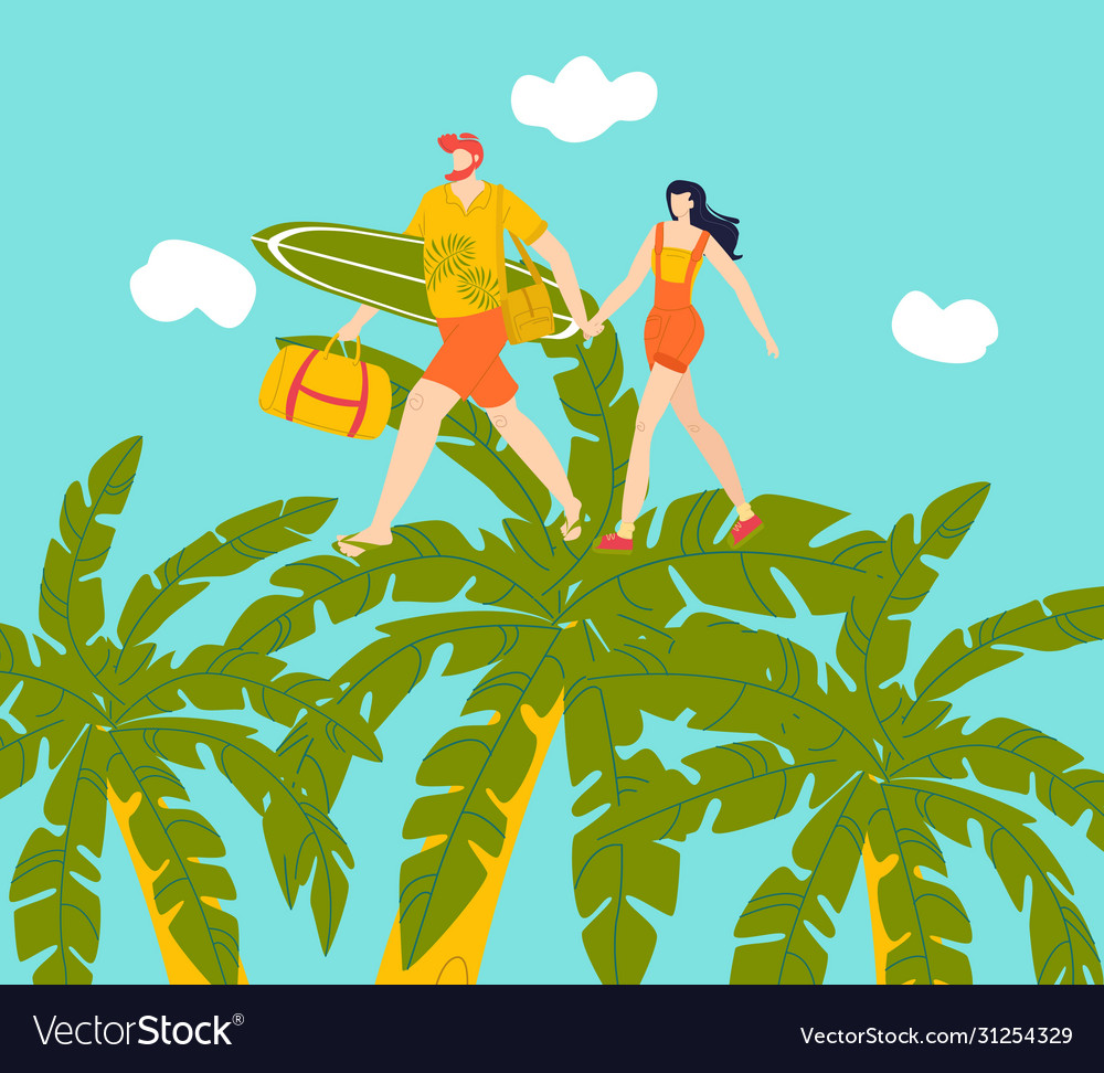 Happy couple on vacation walking on tropical palms