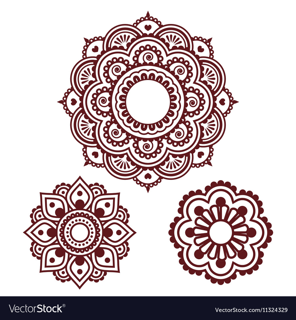 Indian Henna Tattoo Round Design Mehndi Pattern Vector Image