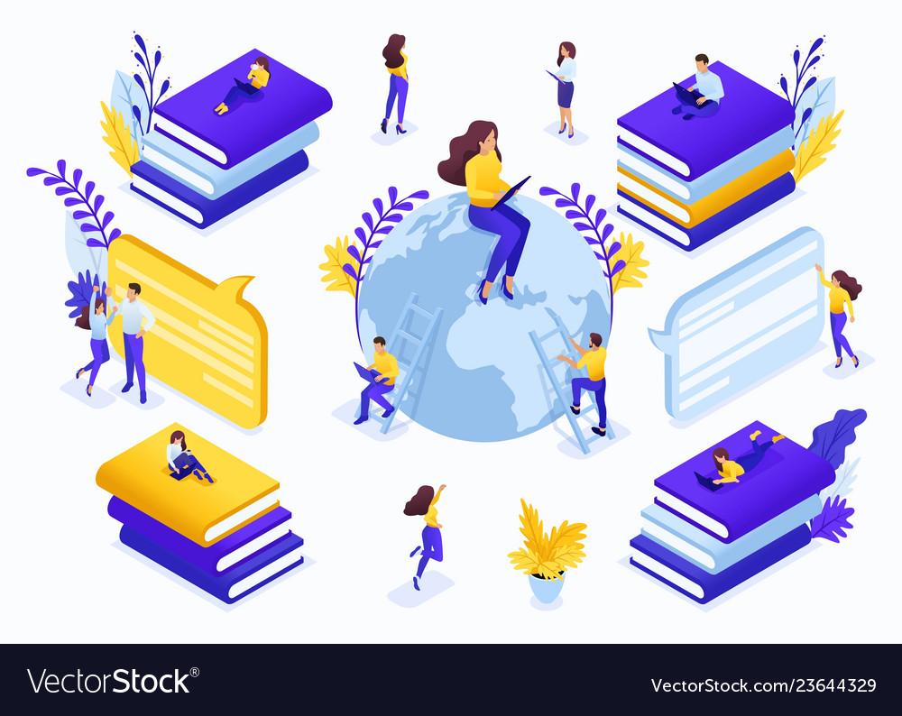 Isometric concept for education vector