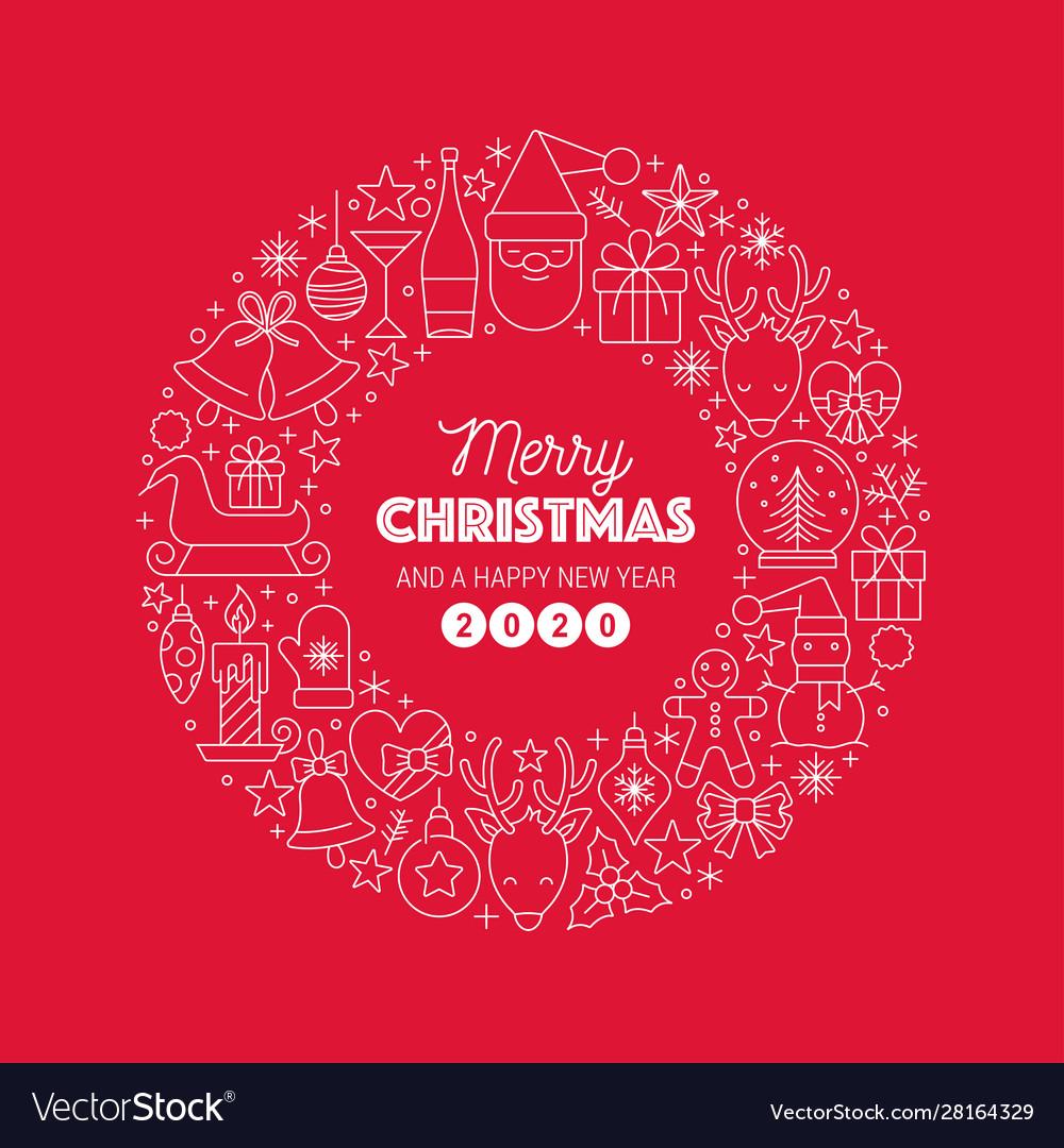 Merry christmas greeting text wreath circle on