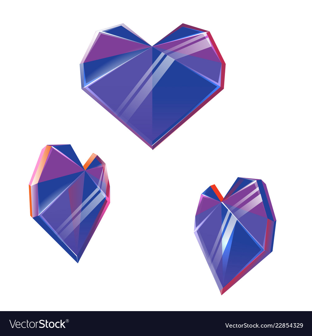 Polygonal purple crystal hearts isolated on white