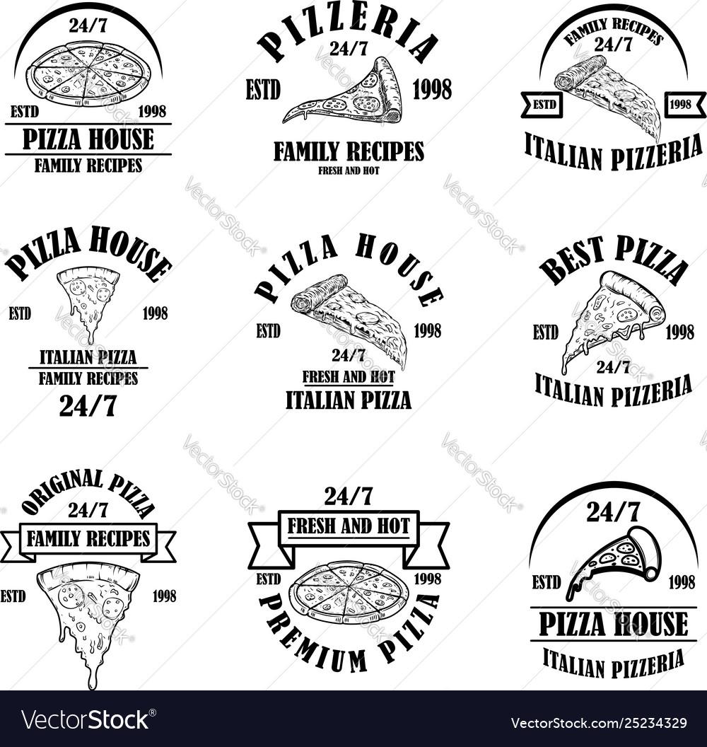 Set pizza house emblems pizzeria labels design