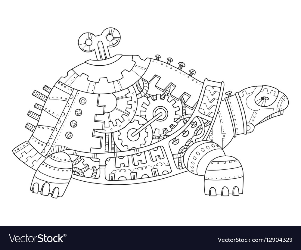 Steampunk style turtle coloring book Royalty Free Vector