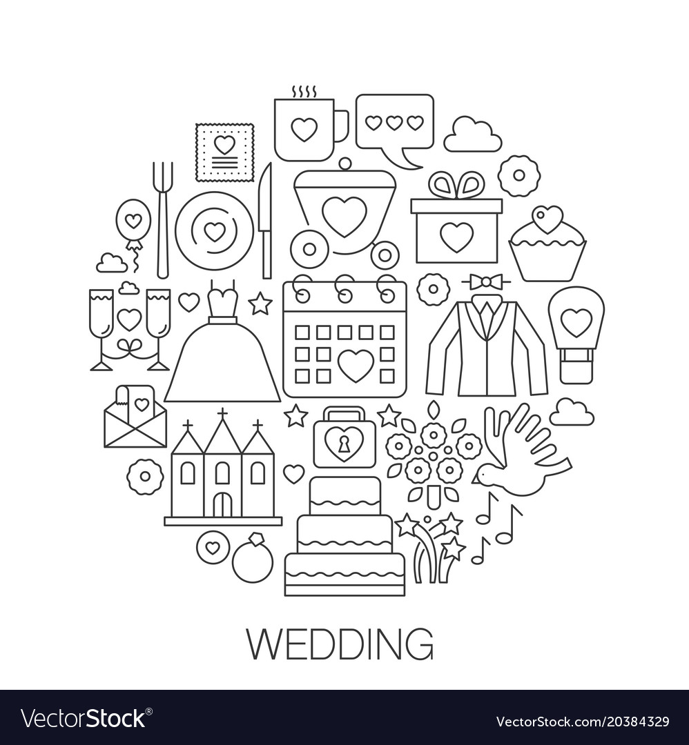 Wedding in circle - concept line