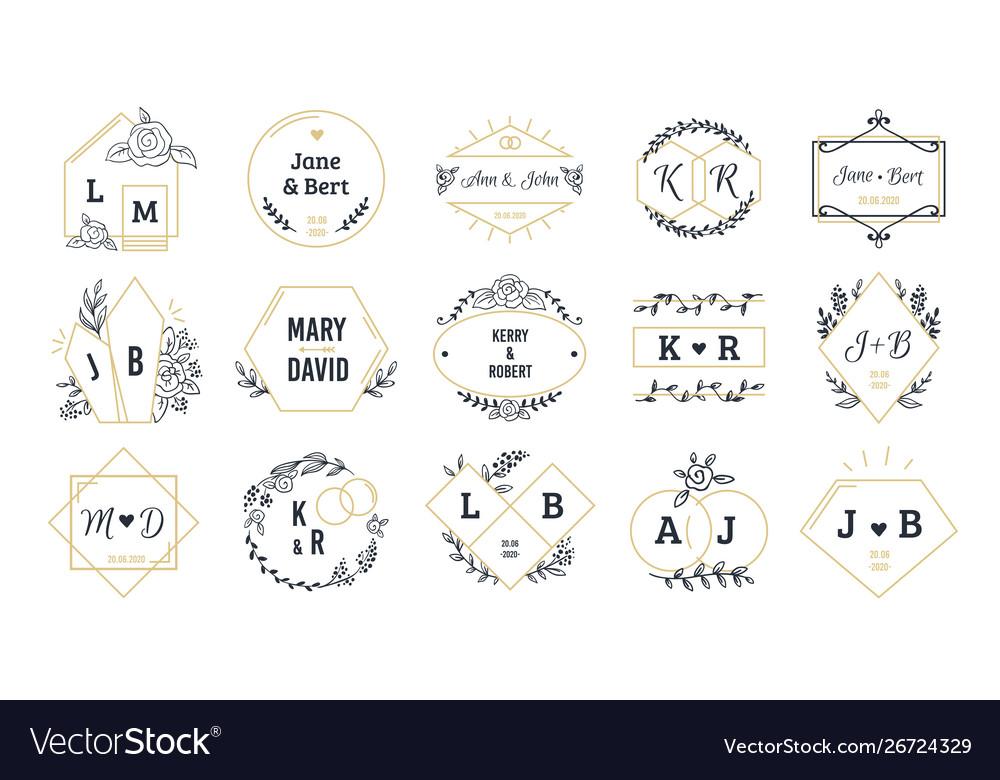 Wedding logos bohemian monograms for event