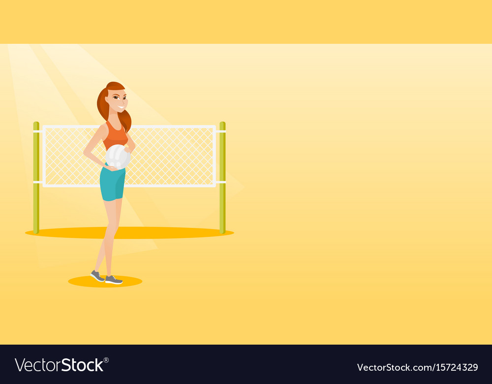 Young caucasian beach volleyball player