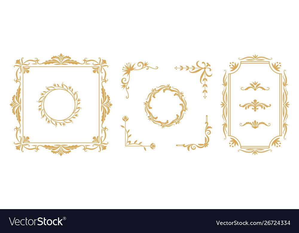 Decorative frame elements vintage floral