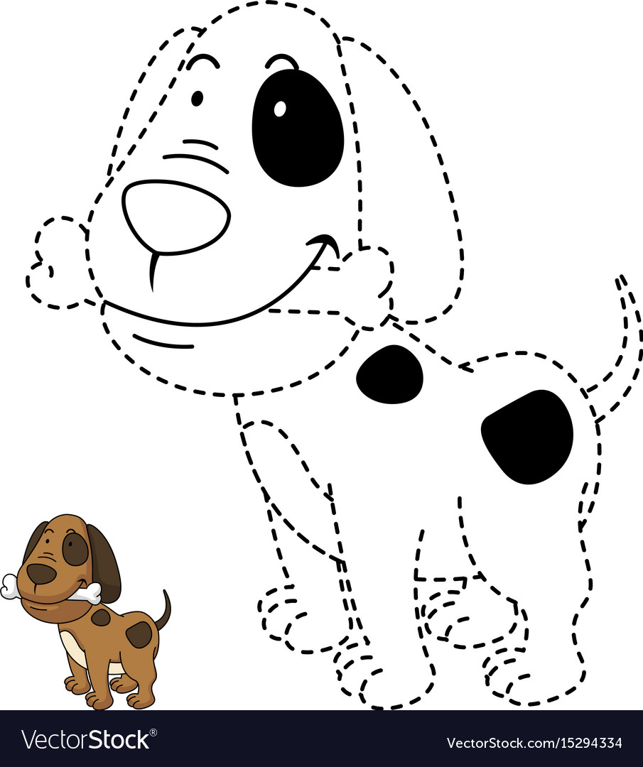 - Educational Game For Kids And Coloring Book-dog Vector Image