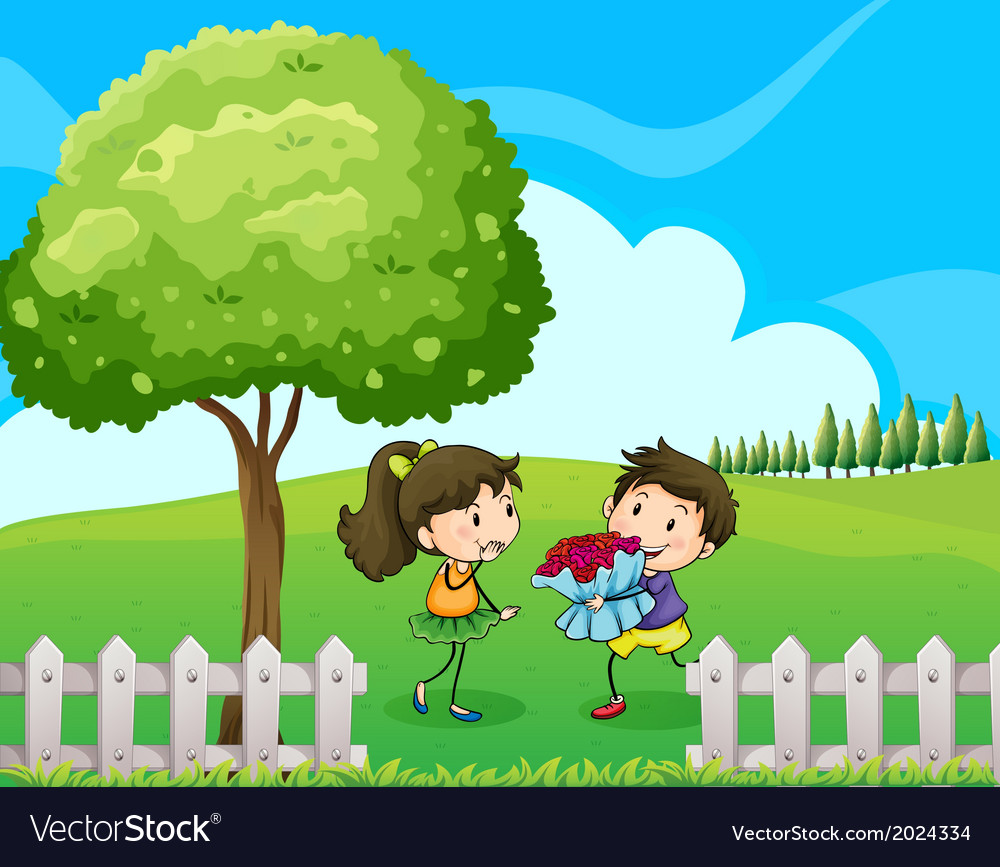 Lovers Dating At The Hilltop Royalty Free Vector Image