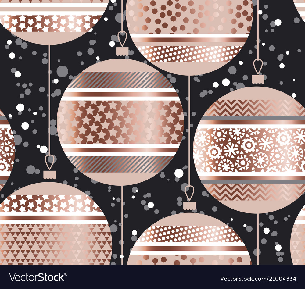 Luxury rose gold xmas bubbles seamless pattern