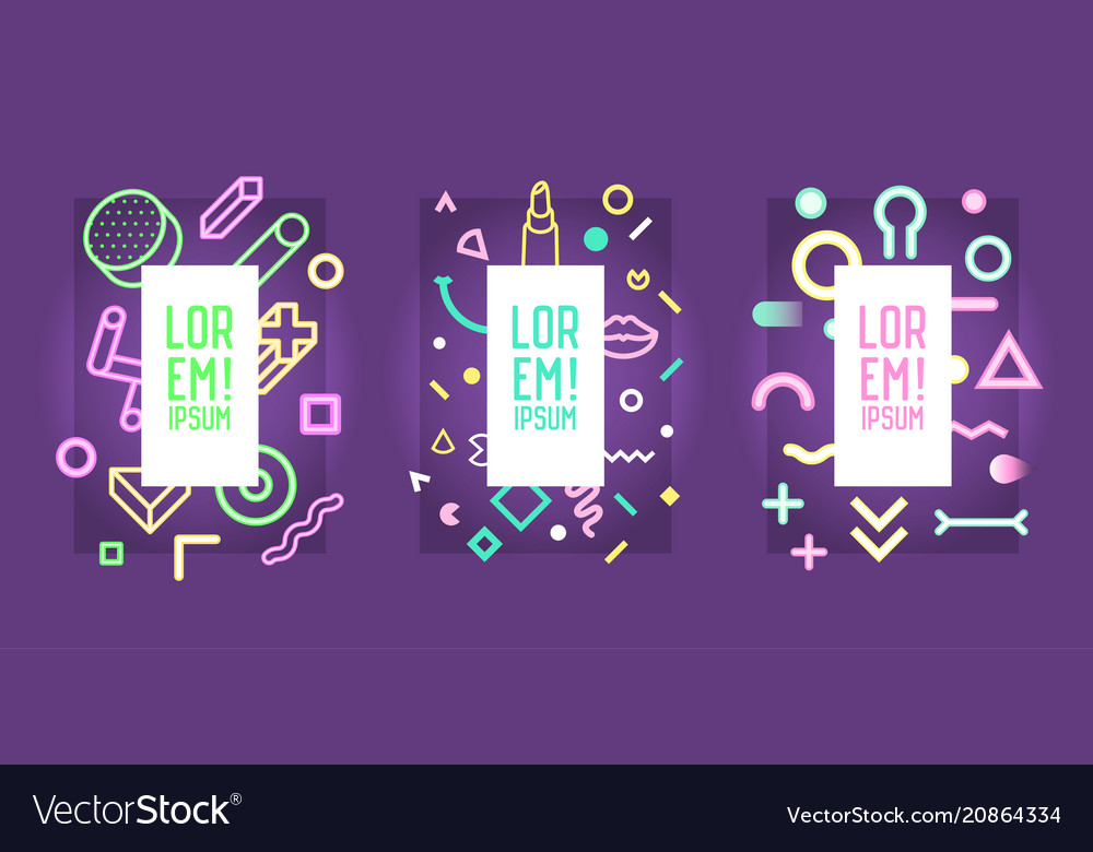 Neon frames with abstract geometric elements vector image