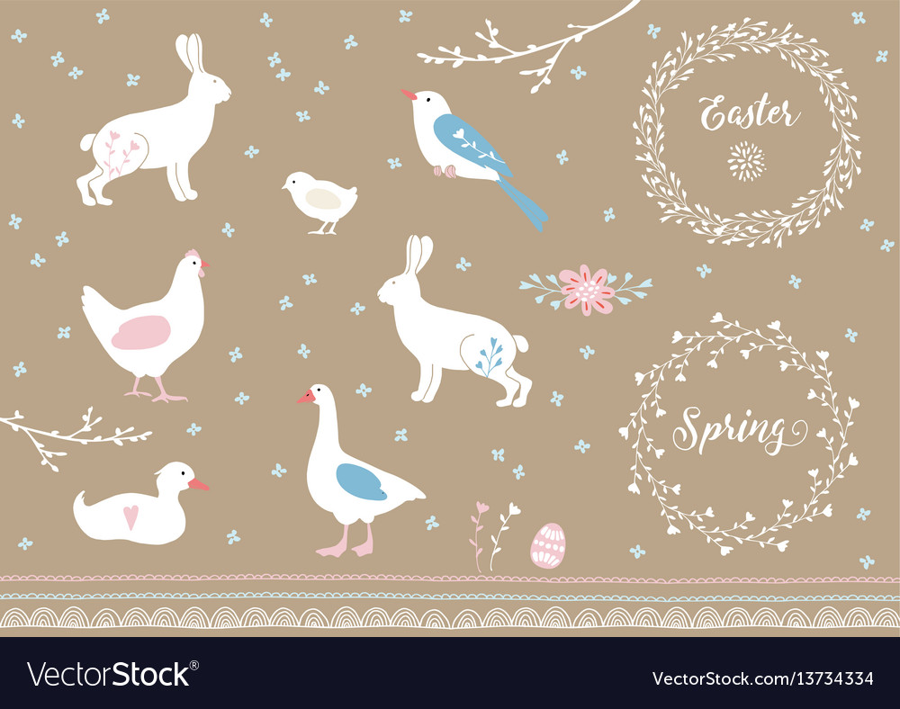 Set of white hand drawn easter and spring elements