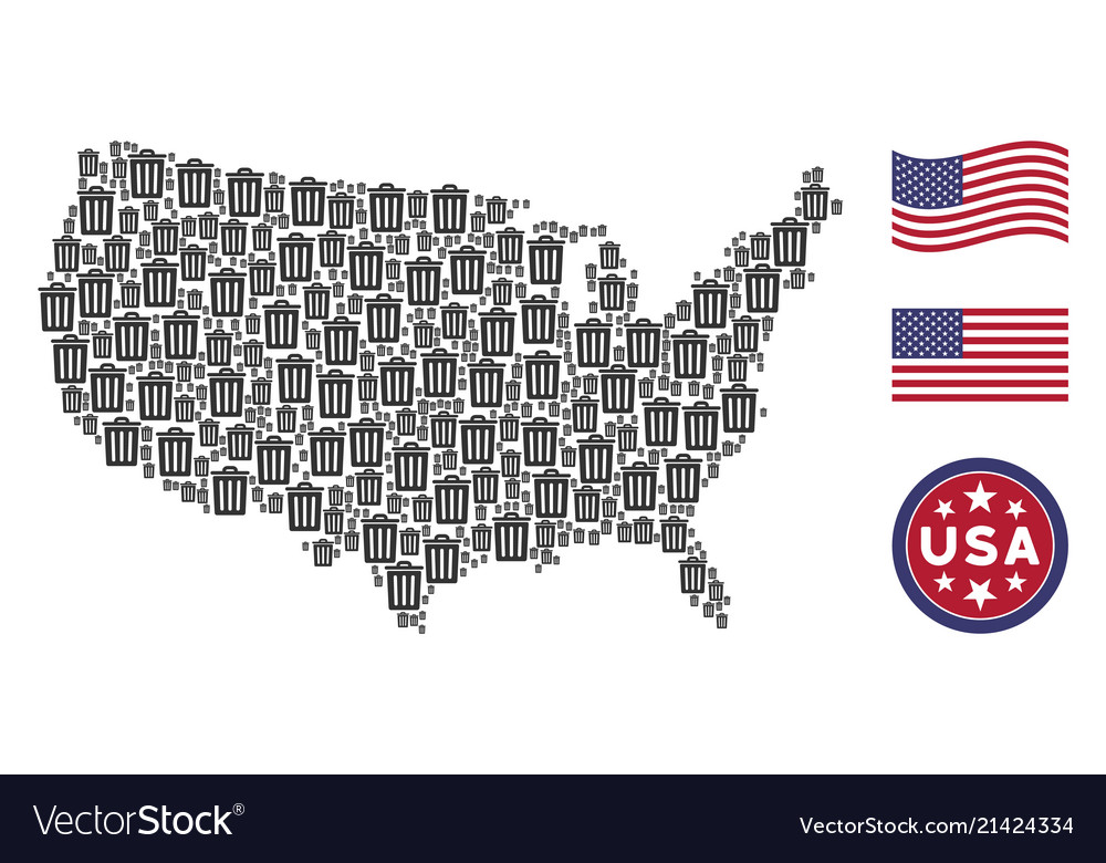united states map collage of trash bin vector image