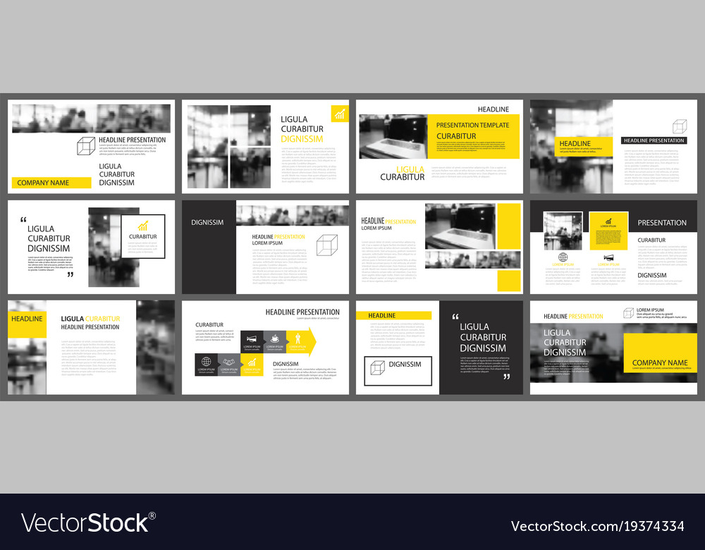 Presentation Templates | Yellow Presentation Templates And Infographics Vector Image
