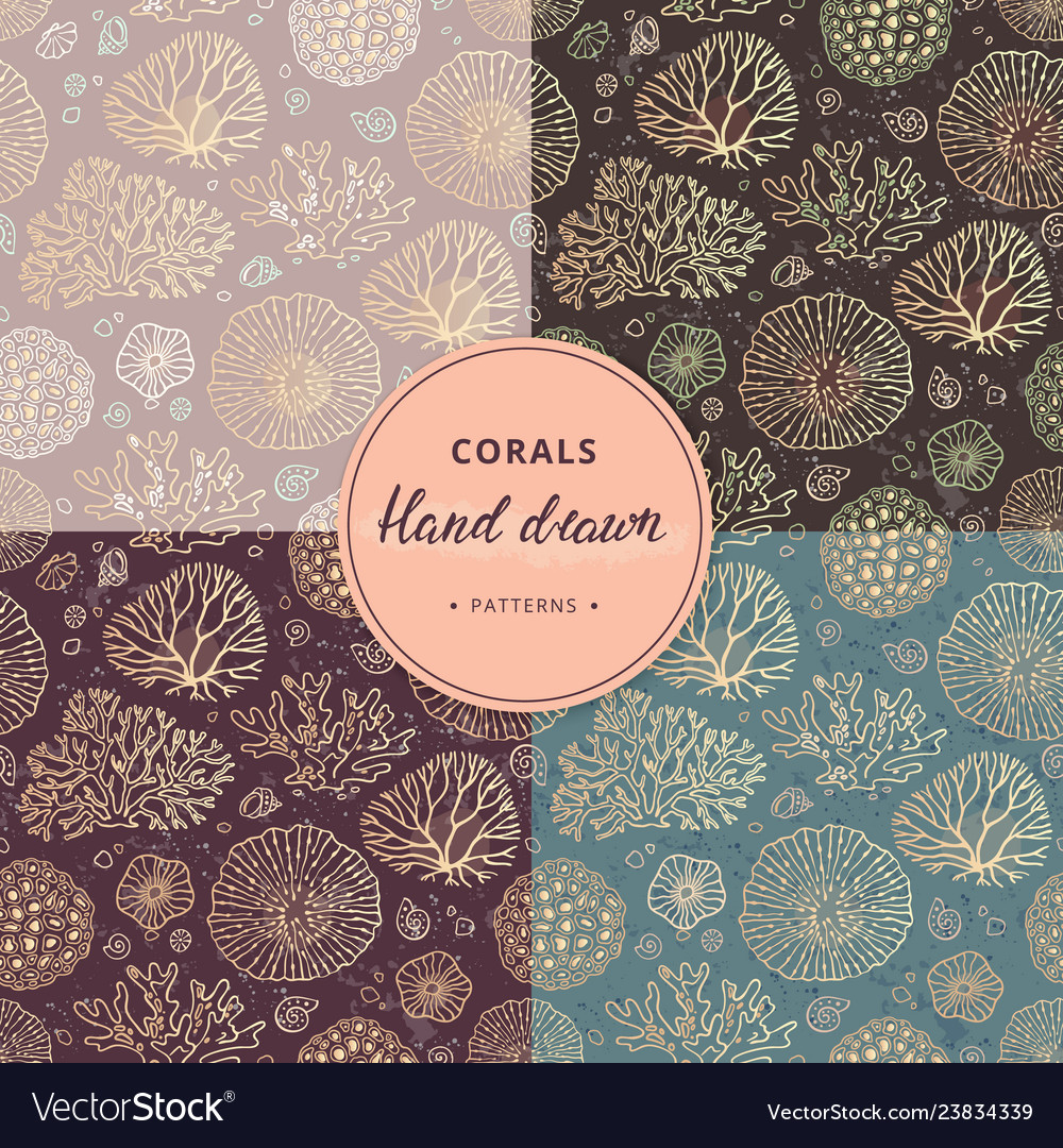 A hand-drawn collection of coral and sea seamless