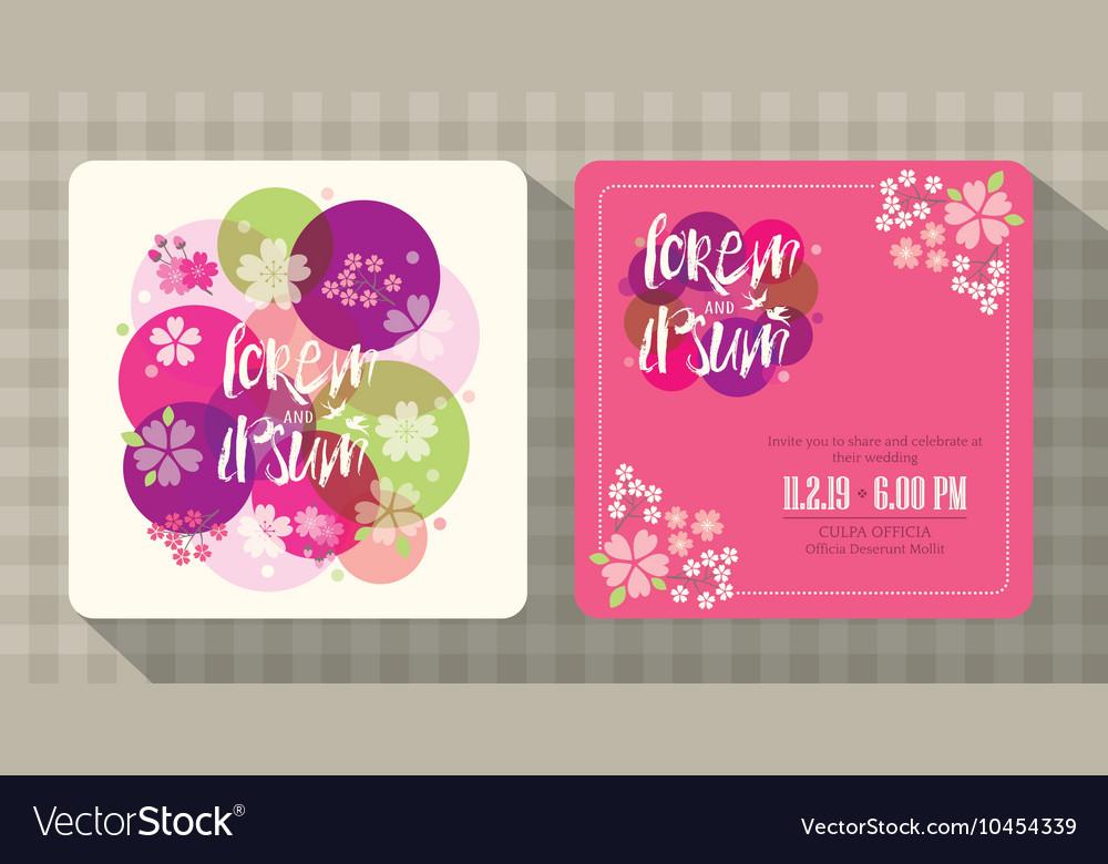 Floral cherry blossom wedding invitation card