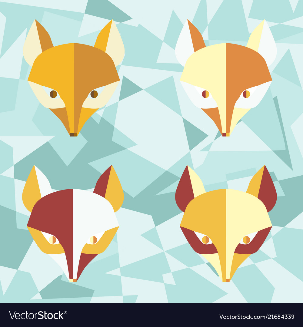 Four paper foxes turquoise poster