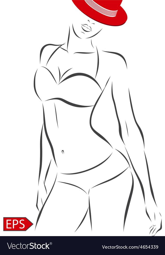 Girl in bikini on a white background vector image