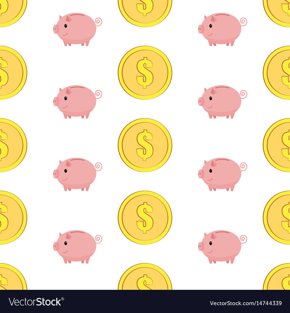 Golden coins with dollar sign seamless pattern