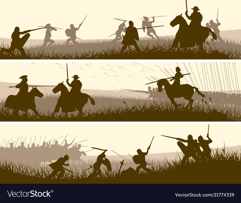 Horizontal banners medieval battle