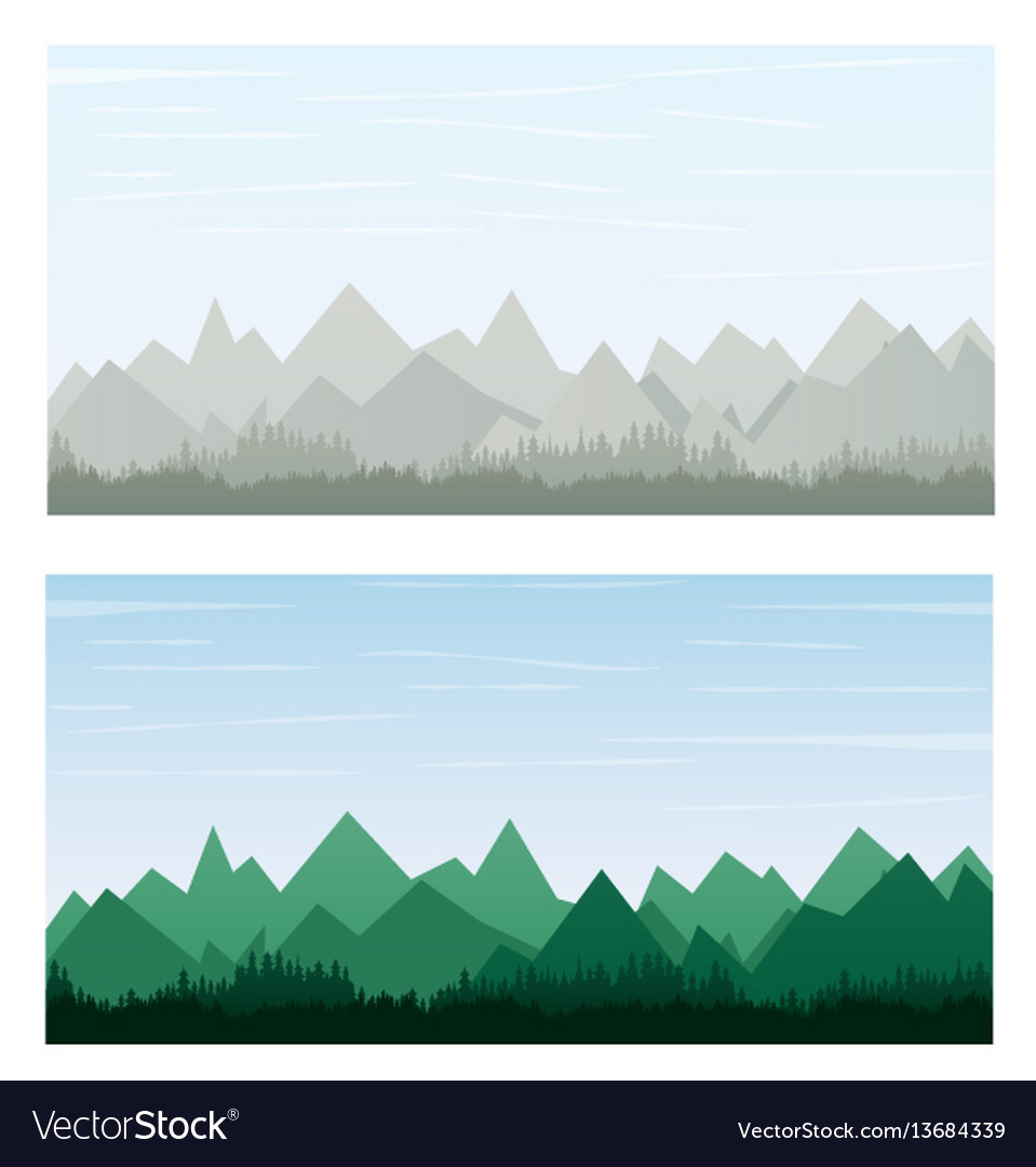 Mountain on gray and green color banner