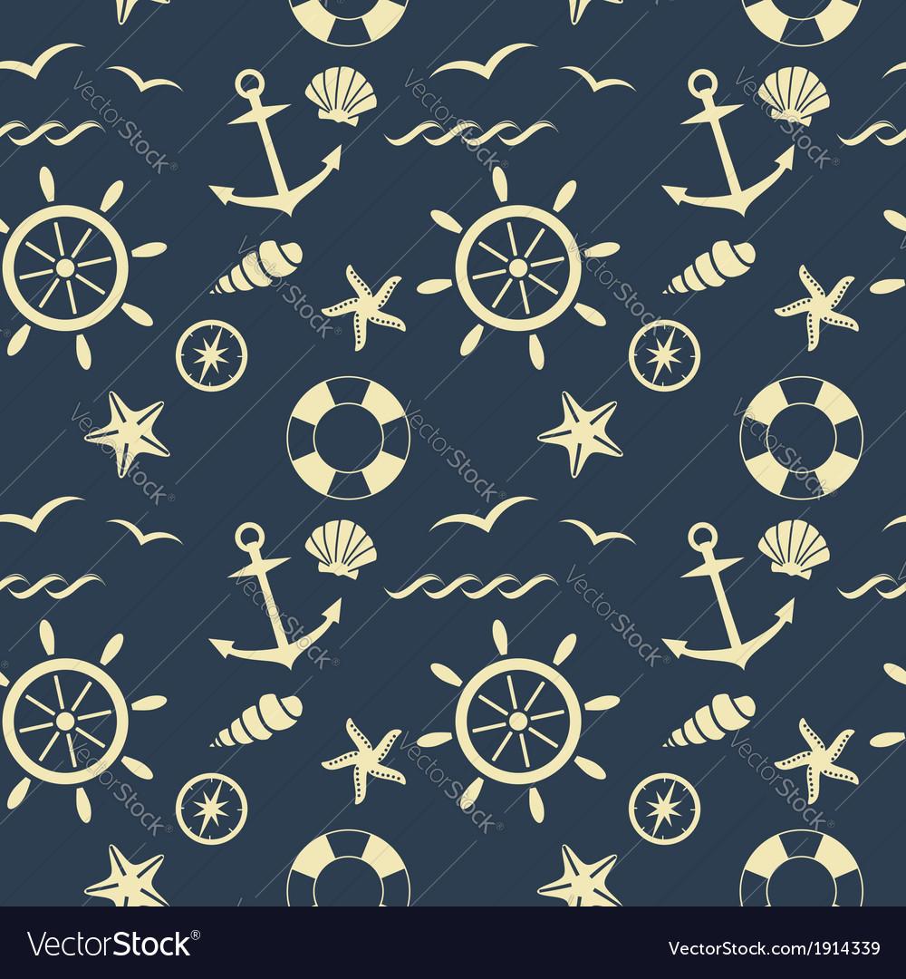 Nautical seamless pattern blue