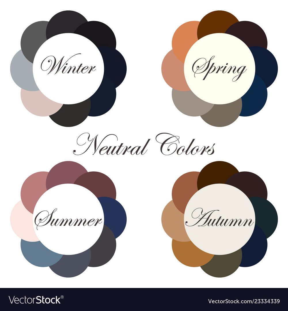 Neutral Colors Seasonal Color Analysis Palettes Vector Image