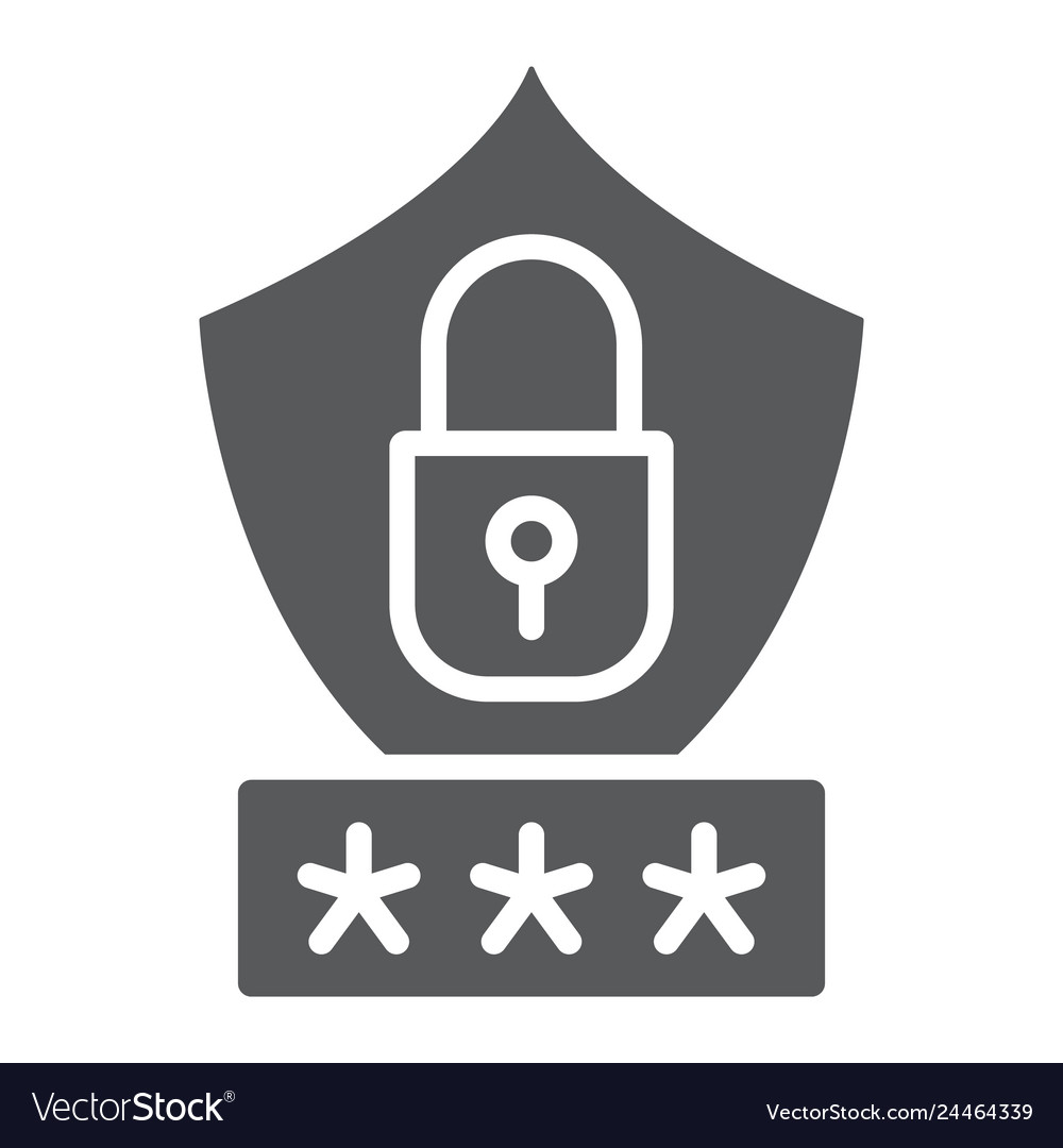 Password protection glyph icon privacy and access