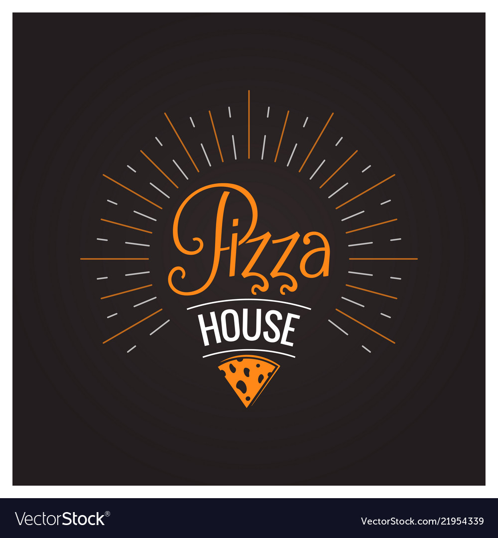Pizza cheese hot logo on black background