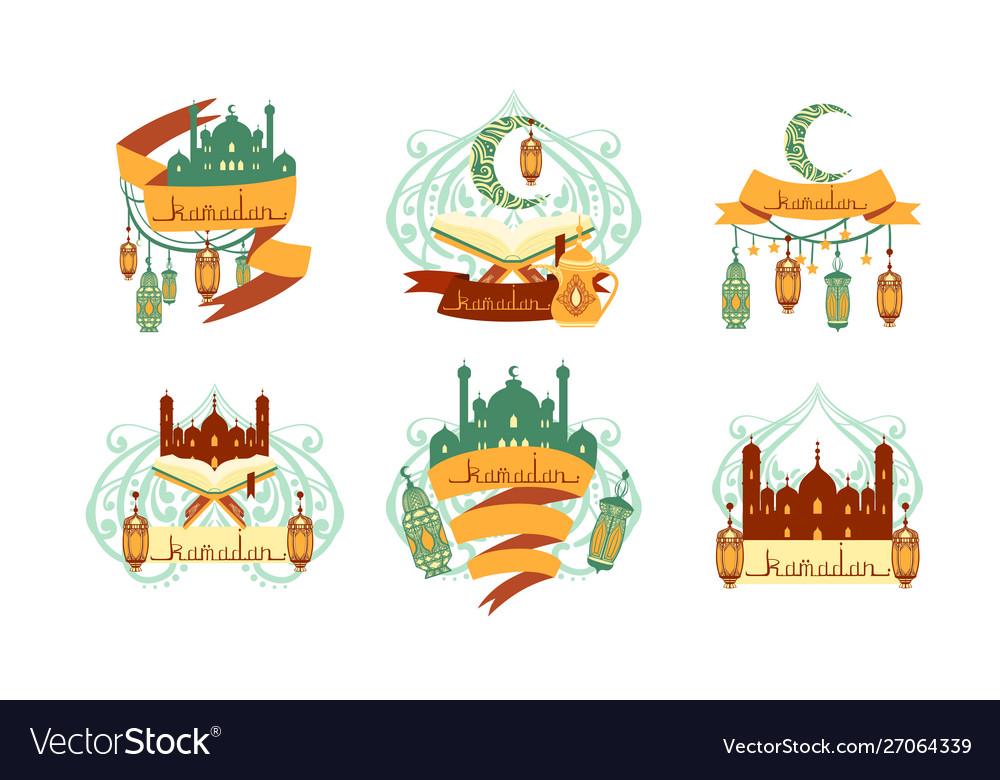 Ramadan kareem labels set islamic holy holiday