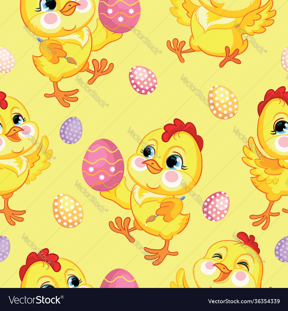 Seamless pattern with cute chickens and easter