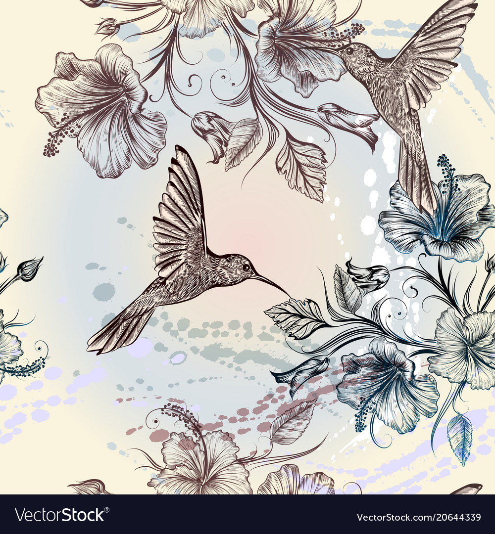 Seamless wallpaper pattern with birds and flowers