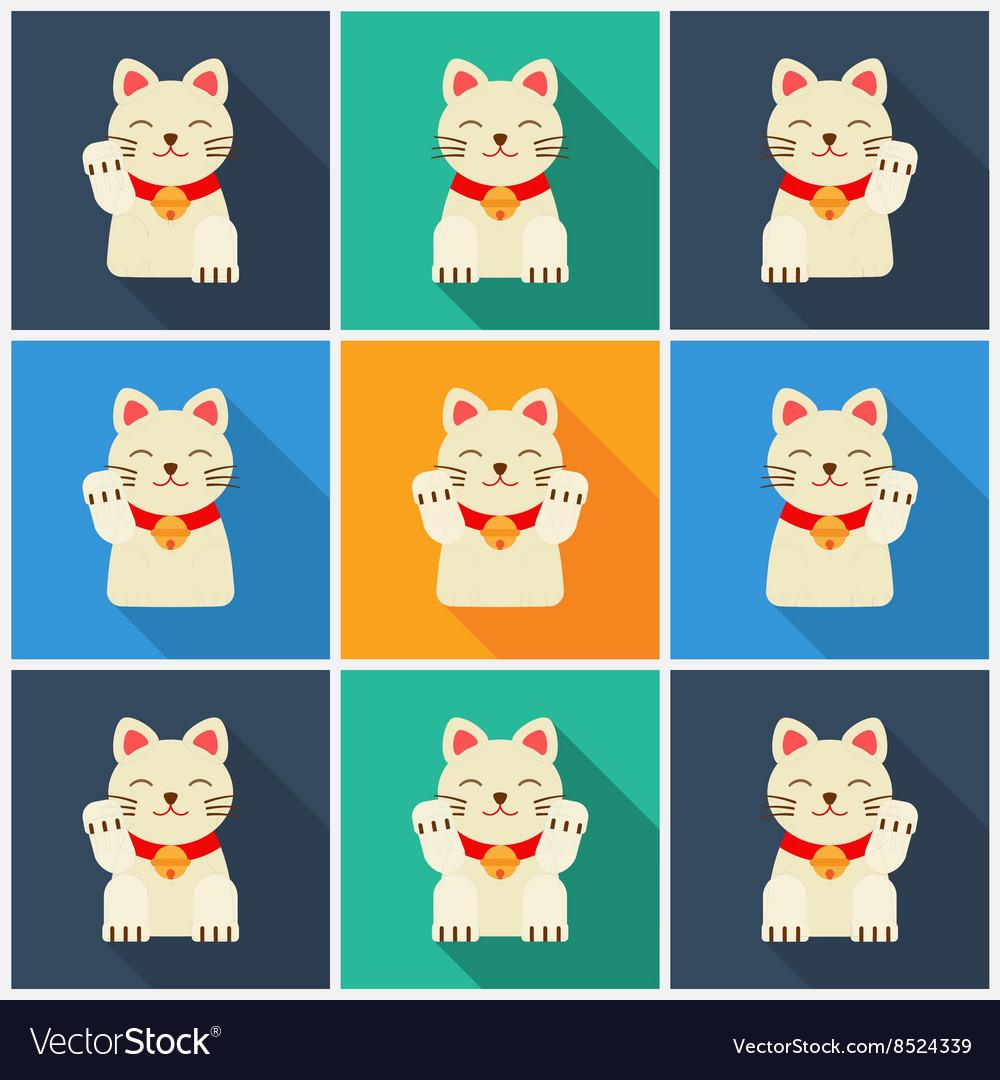 Set Maneki-neko cat flat