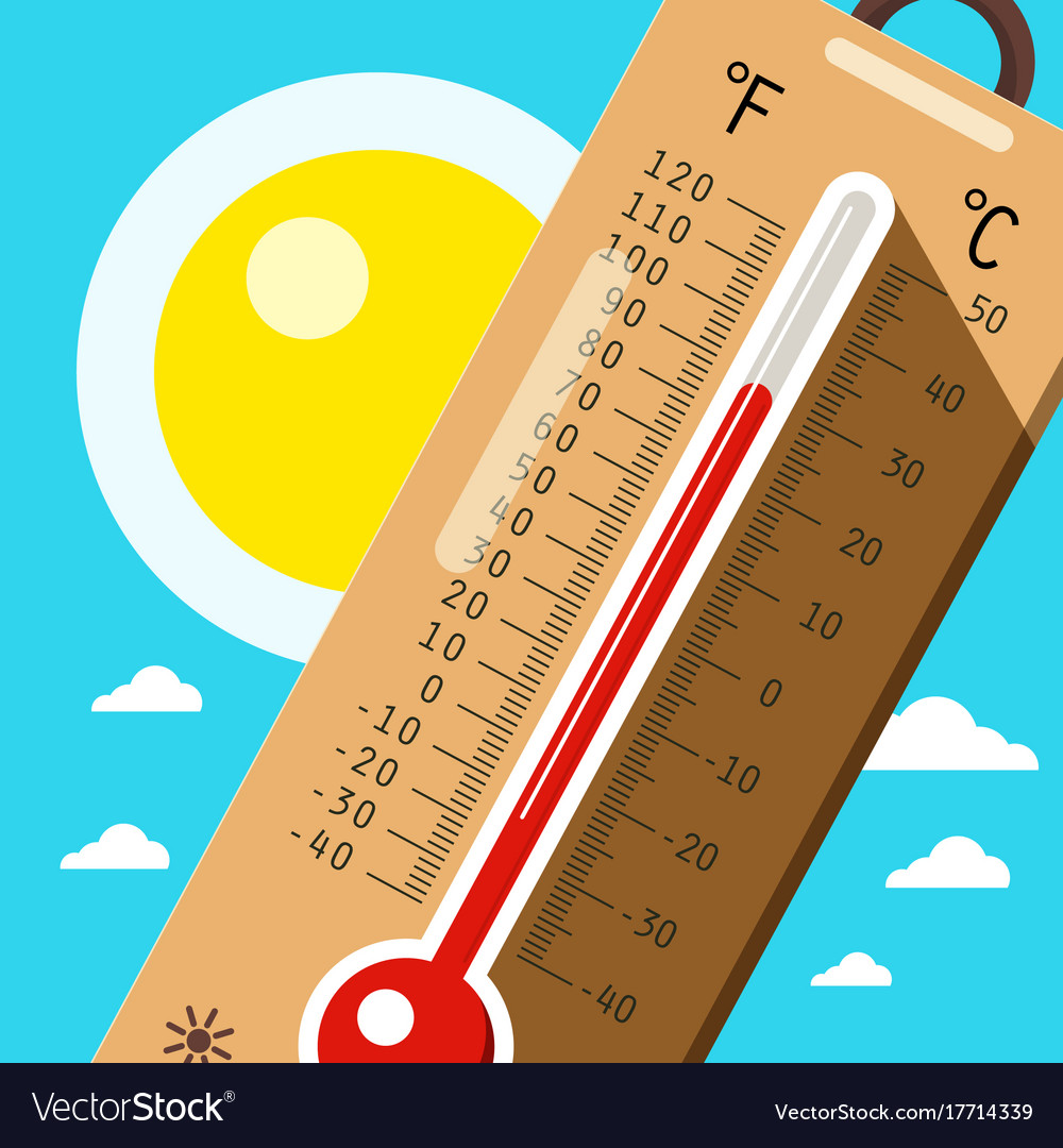 Thermometer with sky and sun hot weather in
