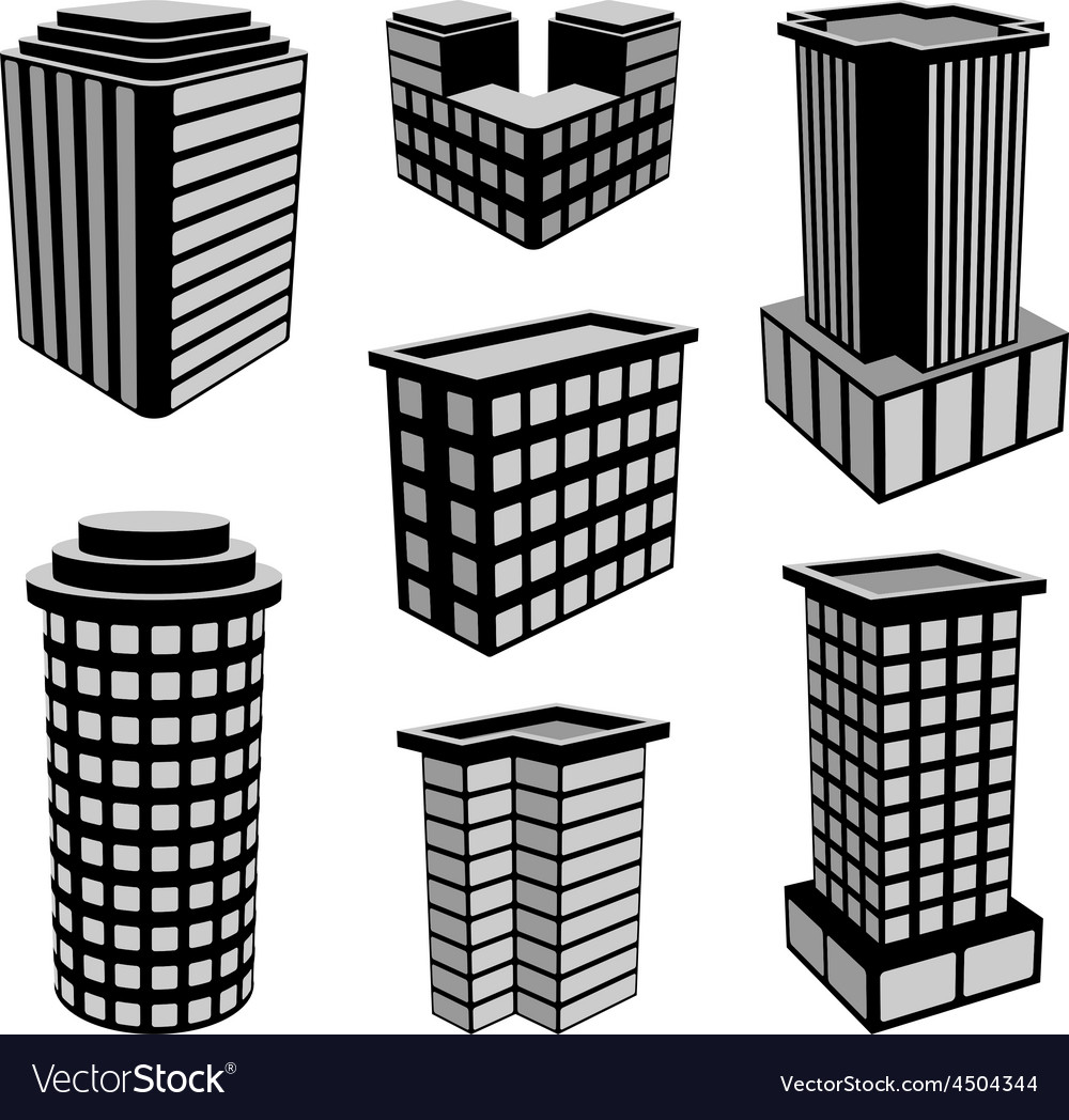 3D Office Buildings Icons