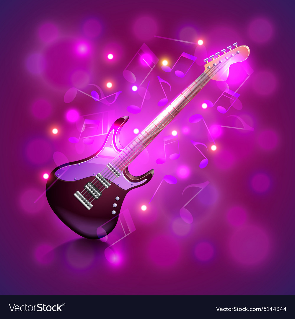 Electric guitar on glowing background
