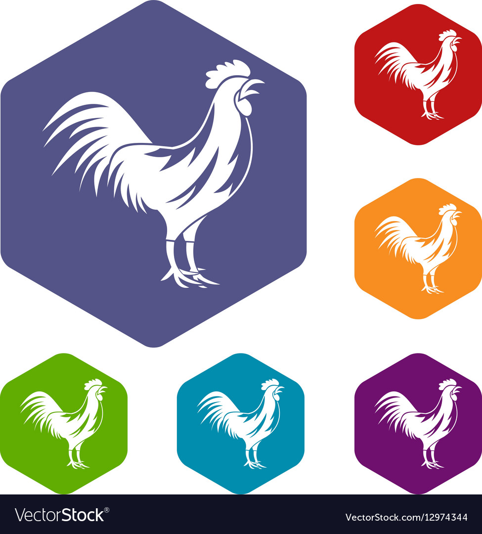 Gallic rooster icons set vector image