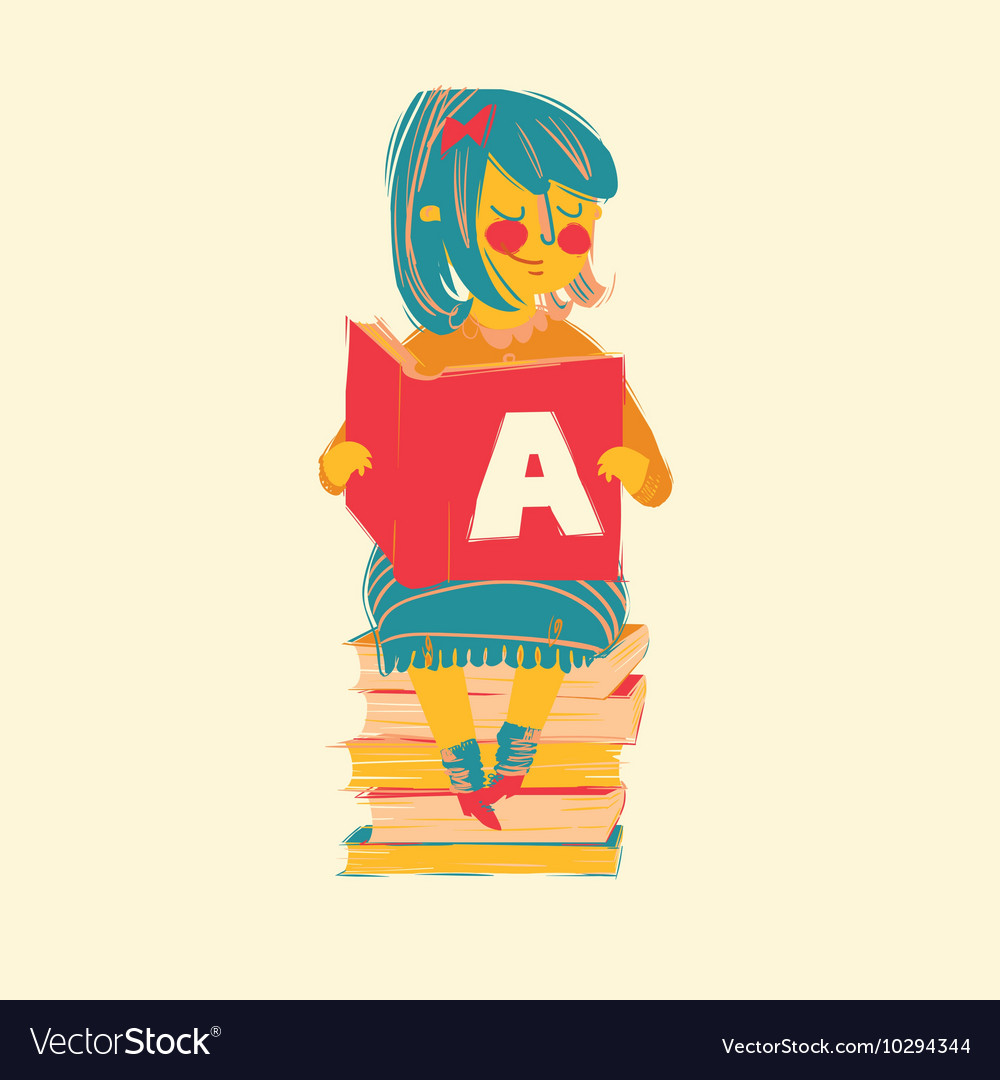 Girl reading books vector image
