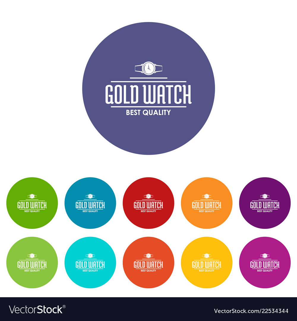 Jewelry watch icons set color