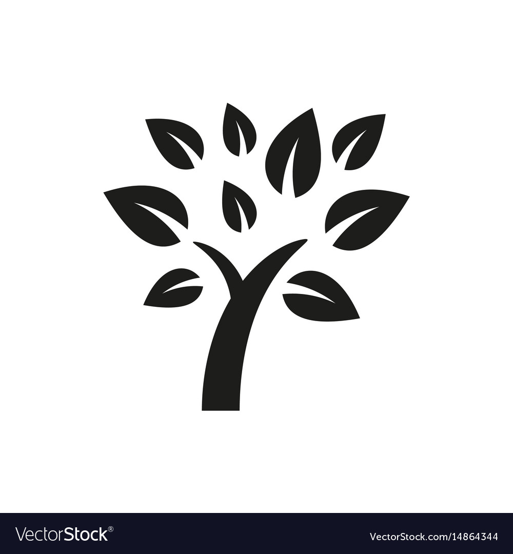 Simple Minimal Black Tree Icon Symbol Style Design